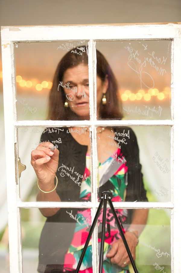 Old windows used in lu of wedding guest book Photograph by Diana Deaver Weddings http://www.storyboardwedding.com/an-intimate-rustic-private-home-wedding-with-a-french-feel-window-pane-guest-book/