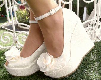 Hochzeit Brautschuhe Braut Keil Schuhe Braut Schuhe von KILIGDESIGN