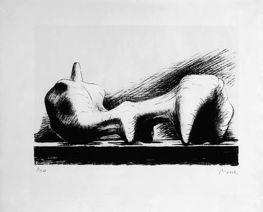 Artwork by Henry Moore, Reclining Figure; and Two Figures at a Table