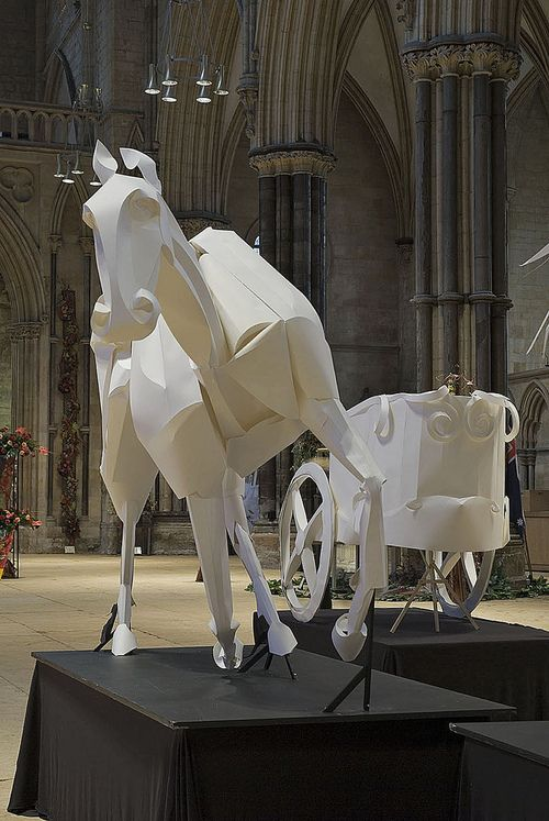 Paper sculpture. Richard Sweeney (b1984) discovered a natural talent for sculpture at Batley School of Art and Design in 2002, which led him to the study of 3D Design at the Manchester Metropolitan University, where he concentrated on the hands-on manipulation of paper to create design models, which ultimately developed into sculptural pieces in their own right.