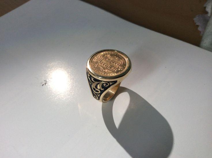 Mens Half Sovereign Ring