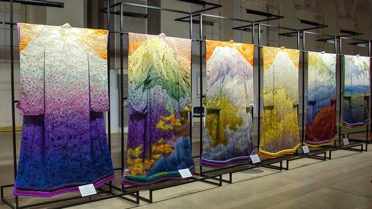 A display of the landscape kimonos of textile artist Ichiku Kubota. Go to the website to see many more pics, in great detail. A fantastic designer, and a master craftsman!