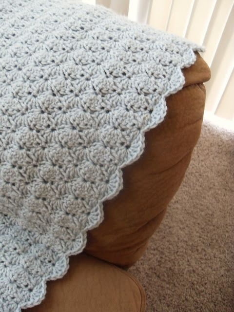 Afghan Pattern Row 1: ch 122 Row 2: hdc in 3rd st from hook, hdc in every st to end of the row. Row 3: ch. 1, sc in first st., skip 2 st's, then make 5 dc's in next st, skip 2 st's, sc in next st, repeat until