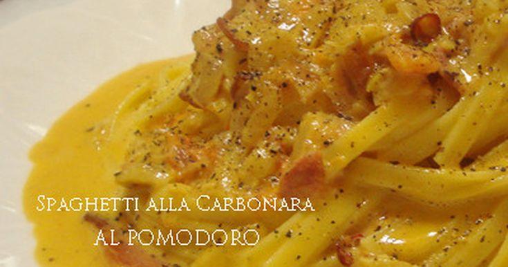 ベーコンの香りとトマトの酸味、鷹の爪のピリ辛がとっても美味しい《カルボナーラ》のアレンジVer.です^^