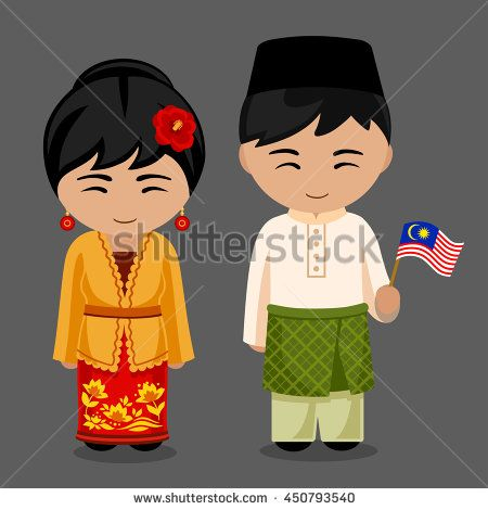 Malaysians in national dress with a flag. A man and a woman in traditional costume. Travel to Malaysia. People. Welcome to Malaysia. Vector flat illustration.