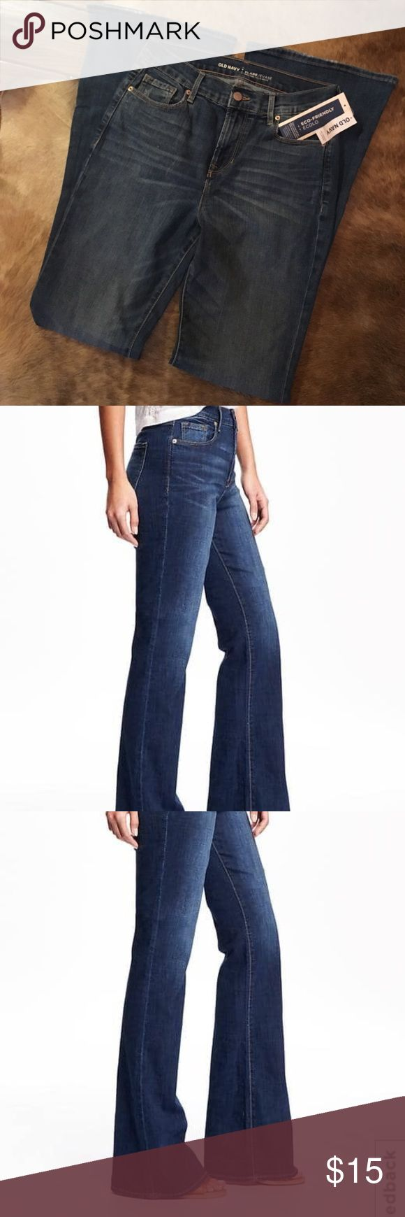 Old Navy high rise flare jeans NWT Old Navy high waisted flare blue jeans.  Love that 70s flare!!!! Old Navy Jeans Flare & Wide Leg