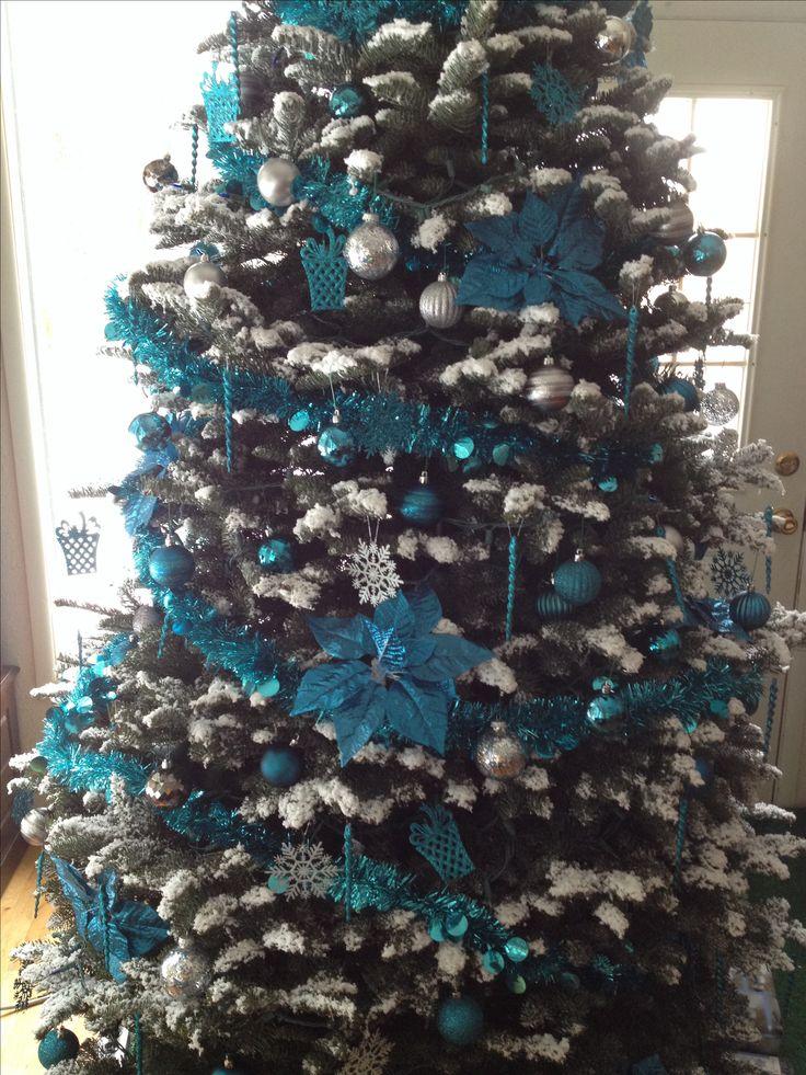 Teal and silver Christmas tree. | Christmas trees | Pinterest