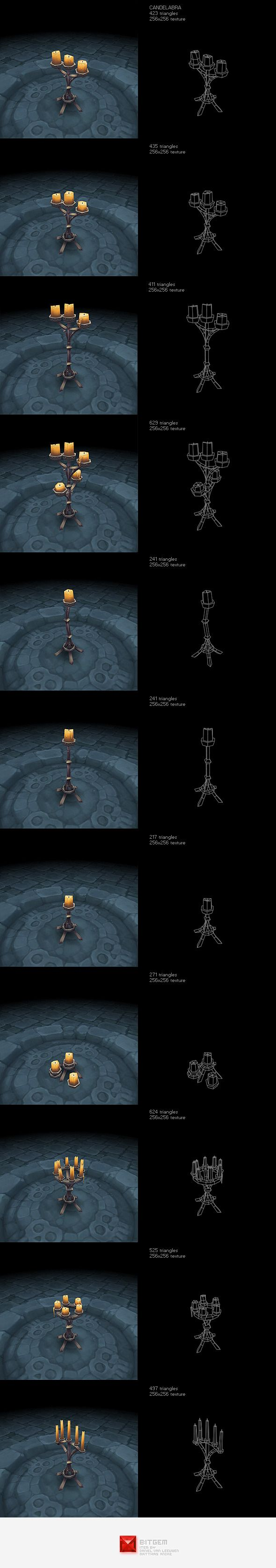 Low Poly Candelabra Set - 3DOcean Item for Sale