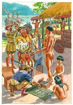 Portuguese trading with Natives in Brasil - first half 16th century