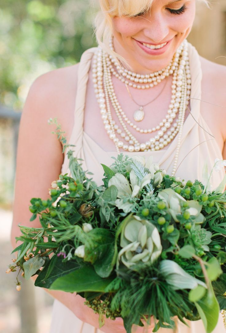 'dressingvintage' hand made bridesmaid bouquets with greenery and lily of the valley