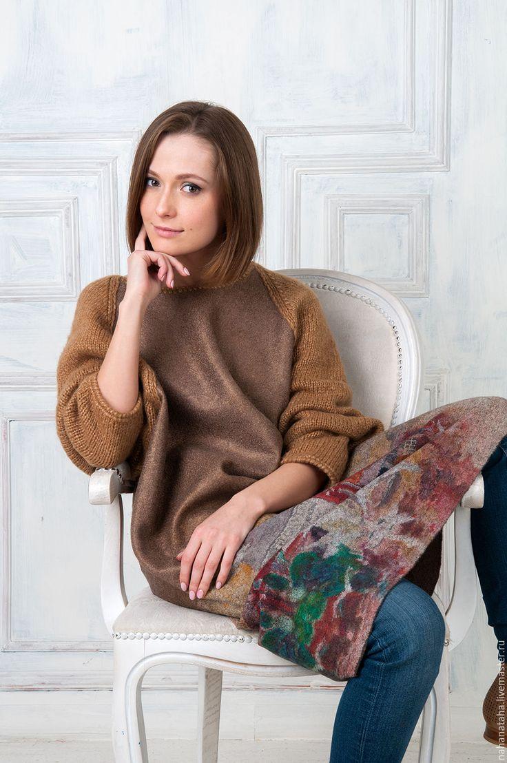 Купить Платье валяное c вязанными рукавами - платье, платье валяное, платье из шерсти