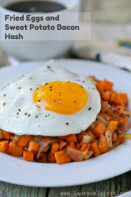 Fried Eggs & Sweet Potato Bacon Hash | Recipe | Bacon, Turkey bacon ...