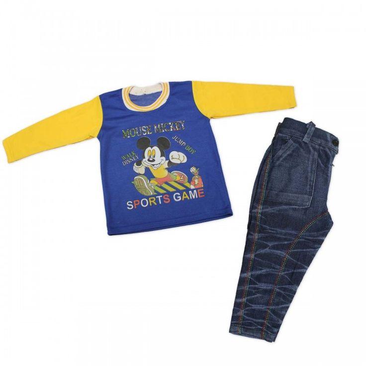 Boys Combo Blue & Yellow Color T-shirt-Round Neck & Blue Color Jeans