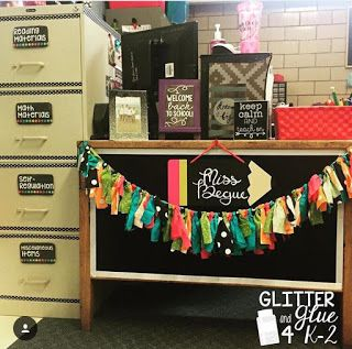 Beautiful classroom from Glitter and Glue 4 K-2! How cute is this teacher's desk. What a fun way to decorate a boring old teacher's desk!! :)