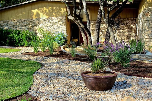 Landscaping with boulders and grasses : Landscaping front yard ideas no grass