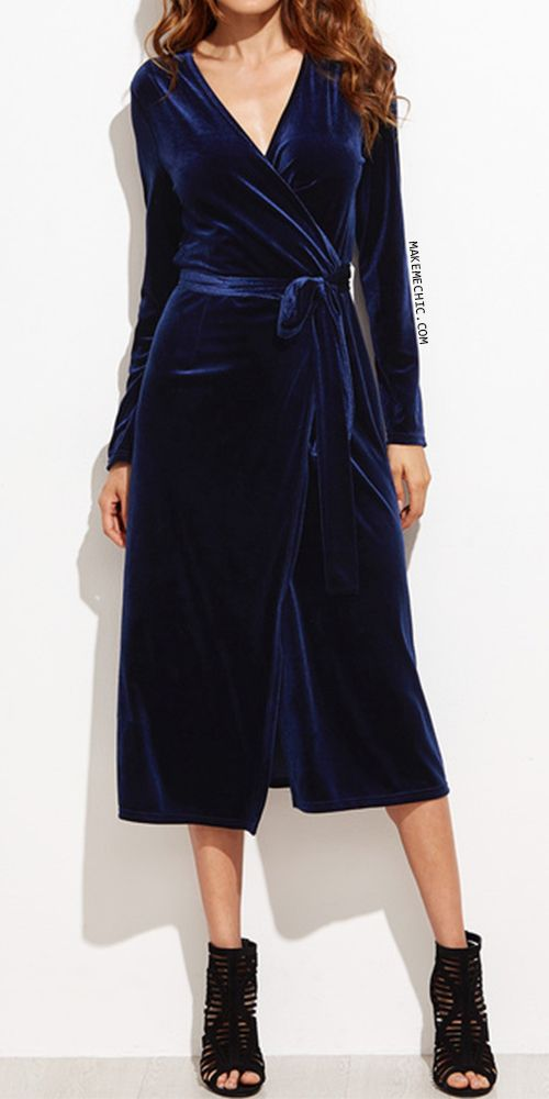 Surplice Front Velvet Wrap Dress NAVY.   Be the definition of luxe in the Surplice Front Velvet Wrap Dress! Features a faux velvet upper, tie waist design, long sleeves and a surplice design. Pairs perfectly with cut out stiletto heels!