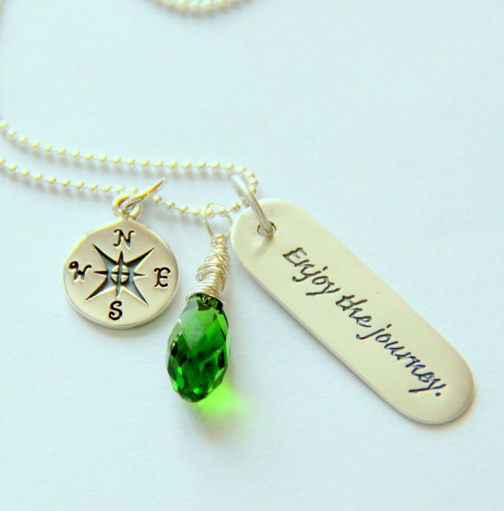 Inspirational Graduation Necklace Emerald by whiteliliedesigns. , via Etsy.