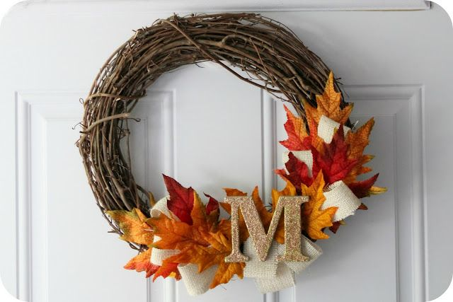 DIY - Fall Wreath. Cute! I have seen bags of individual leaves at the dollar tree but never knew what to do with them until now. it would be perfect to make this!