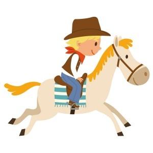 Jason galope à la vitesse du vent sur son cheval. Les indiens n'ont qu'à bien se tenir !  Ce sticker déco propose 3 formats différents qui permettent ainsi de s'adapter aux désirs de chacun et à la taille de son mur !