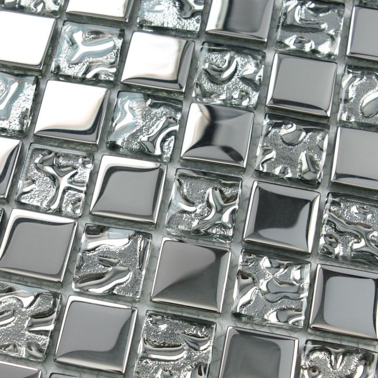 Crystal Glass Tiles Sheet Square Mosaic Tiling Bathroom Wall Tiles Silver Metal Coating Tile Ktchen Backsplash 8123