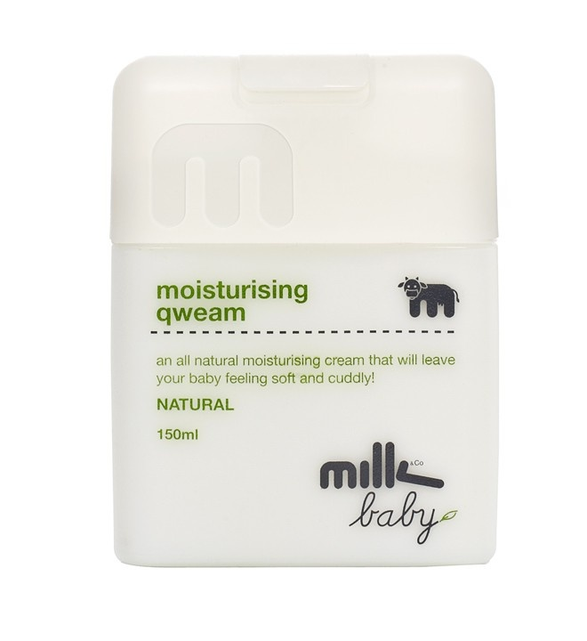 MOISTURISING QWEAM 150ML  Ever thought to yourself that your bubba has grown over night? Milk Baby Qweam is a non-greasy, super absorbent, all natural daily moisturiser for your bub. The unique formula re-hydrates your baby's sensitive skin, clearing dry and irritated patches while providing skin with all it needs for extra growth! It will also leave your bubba feeling soft and cuddly.