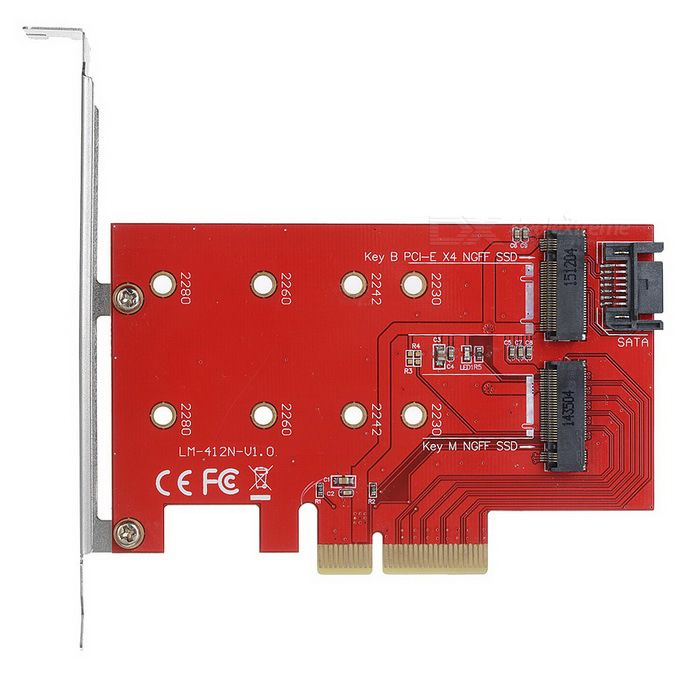Desktop Computer PCI-e X4 M NGFF(M.2) + B NGFF(M.2) Extension Card. Find the cool gadgets at a incredibly low price with worldwide free shipping here. Computer PCI-e X4 M NGFF(M.2) + B NGFF(M.2) Extension Card - Red, Computer Cable&Adapter, . Tags: #Computers/Tablets #Networking #Cables #Adapters #Computer #Cable #Adapter