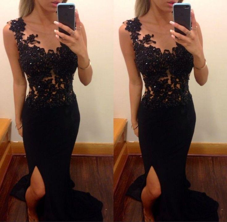 Prom Dresses Long Black Mermaid Sheer Appliques Leg Slit Lace Special Occasions Gowns Sexy Corset Chiffon Fancy Dress For Ladies Prom Dress Hire Prom Dress Long From Firstladybridal, $83.85| Dhgate.Com