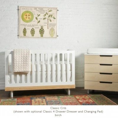 Oeuf Classic Cot in White/Birch - Cots and Change tables - Brisbane Furniture for babies - baby nursery and bedroom ideas