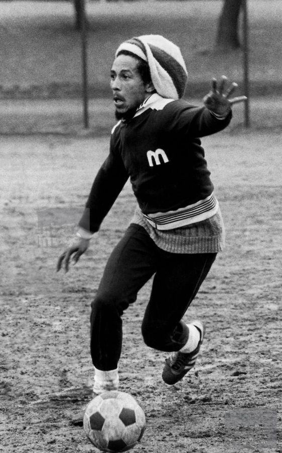 Bob Marley at Soccer match in Londons Battersea Park - The Wailers vs The Island Records team, 1977.  Copyright:(c) 56 Hope Road Music.