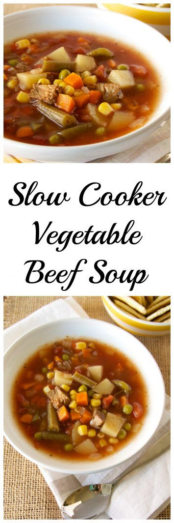Slow Cooker Vegetable Beef Soup on www.cookingwithruthie.com take a look at all…