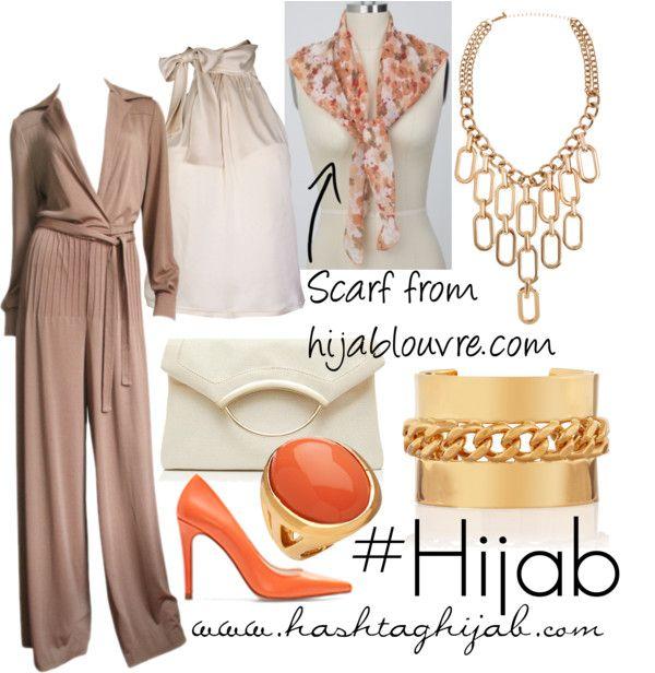 Brown jumpsuit, orange heels, orange ring, gold bracelets, gold necklace, printed scarf