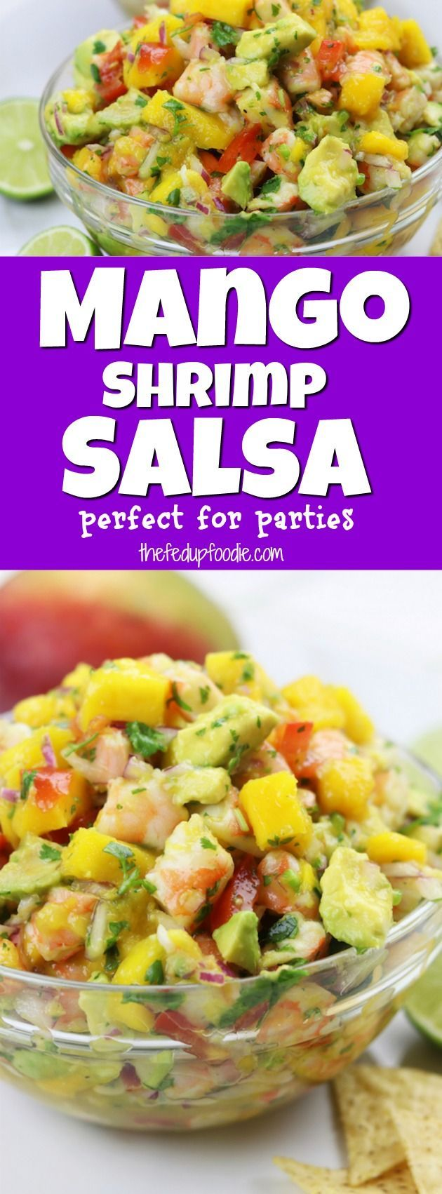 Refreshing and satisfying, Mango Shrimp Salsa recipe is a fruity seafood feast that is perfect for parties. One of my favorite splurges that comes together in under 30 minutes. Instructional video included showing the simple steps.#thefedupfoodie#partyrecipe#partydip#salsa#seafooddip#mexicanappetizerhttps://www.thefedupfoodie.com