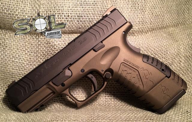 "Springfield Armory XDM 3.8"" .45 ACP in H-148Q Burnt Bronze and Custom Color Midnight Bronze. Visit us at http://SolSurvivor.com or call 307-SURVIVE for a quote! No job too big or small!"