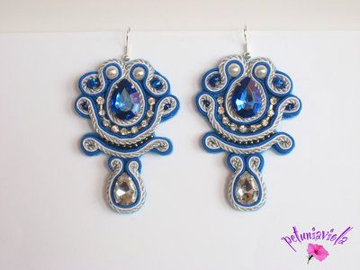 """Soutache  earrings """"blue ocean"""" , embroidered , jewel pendant handmade with very bright beads."""