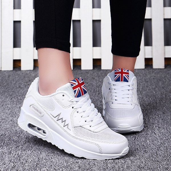 Fashionable Women's Athletic Shoes With Lace-Up and Breathable Design