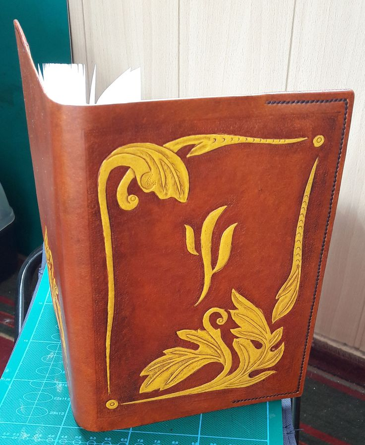 handcrafted leather cover of the diary