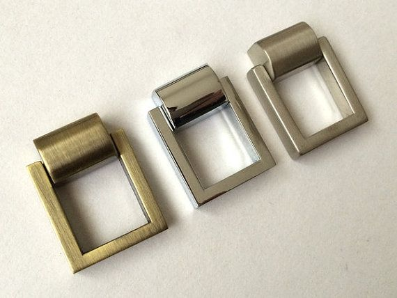 Small Drop Ring Dresser Pull Knobs Drawer Knob Pulls Handles Rings Chrome  Silver Nickel Bronze Square