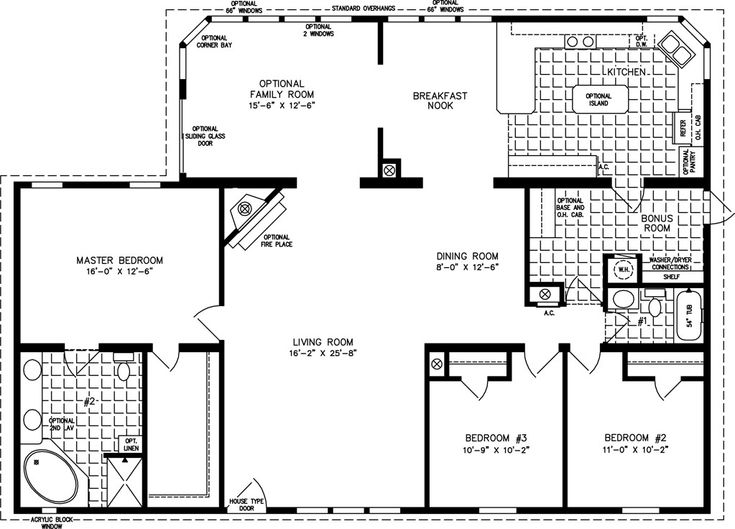 3 Bedroom 2 Bath Home Floor Plans Bedrooms 2 Baths
