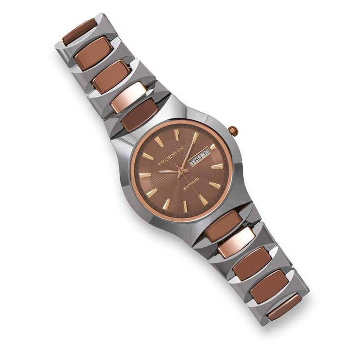 """Elegant men's tungsten carbide watch with cocoa color links and sapphire crystal. The sapphire watch crystal is extremely scratch-resistant. The tungsten watch band measures 18mm wide, and the watch case is 38mm. This watch is 3 ATM water resistant, and has a date feature. This watch is 8.5"""". Links can be removed if necessary. The watch comes packaged in a bamboo gift box.    Regular price is $417 and get yours only $247!   Shop this product here: http://spreesy.com/thefactably/9   Shop all…"""