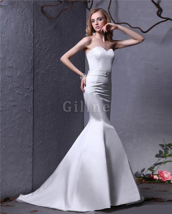 Satin Schärpe Außen Bodenlanges Gerüschtes Brautkleid