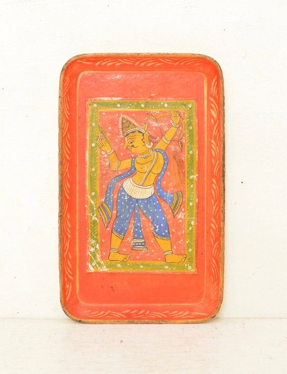 Lord Rama Vintage Hand Painted Paper Mache Tray Hinduism Bow and Arrow Yoga Art SS Occupied Japan; F
