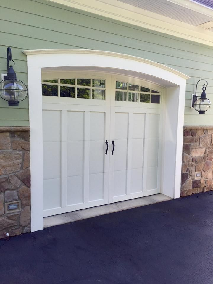 Clopay Coachman Collection white carriage house garage door with arched windows. Love the sage green & 17 best Painted White Garage Doors images on Pinterest | Garages ...