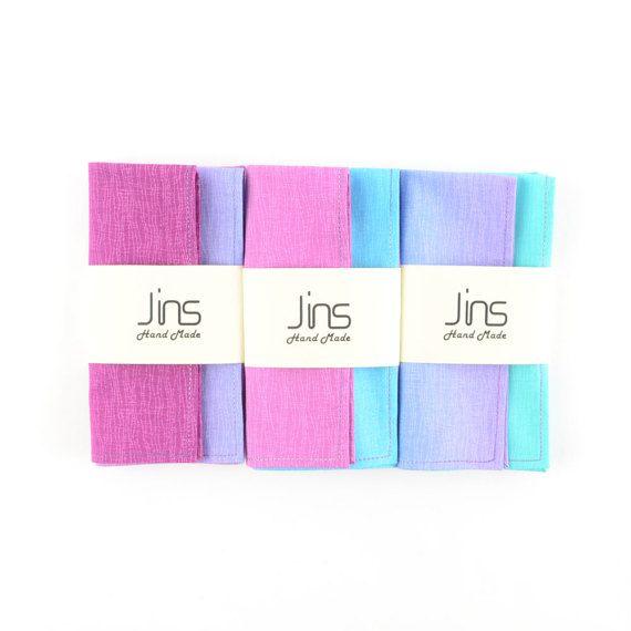 Purple-green gradient cotton handkerchief with multi-colour edge stitched, multicolour pocket squares for men, unique designed handkerchief