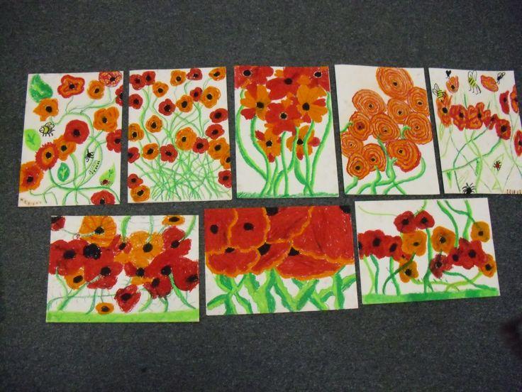 poppies children's art