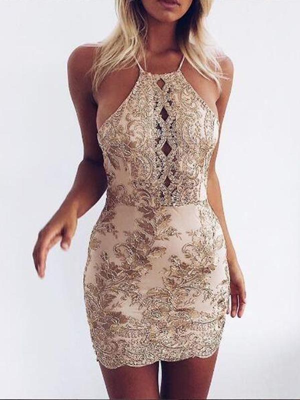 a66d2e3c Halter Backless Gold Applique Sparkly Tight Homecoing Dresses 2018, CM436 –  SposaDresses