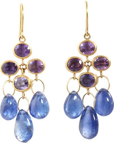 Mallary Marks Purple & Blue Sapphire Trapeze Earrings