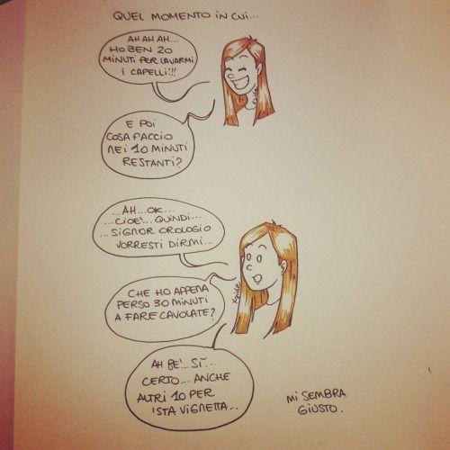 O….ok….e mo? E mo corro! #welcometomylife #mylife #comic #vignetta #disegno #drawing #draw #drawings #girl #ragazza #disegni #io #me #capelli #hair #washmyhair #late #ritardo #iltempovola