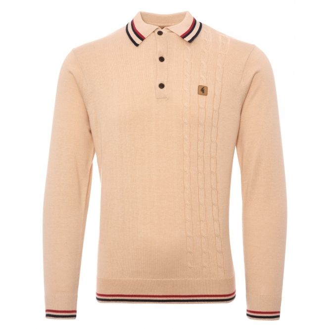 Gabicci Vintage Mens White Knitted Polo Shirt