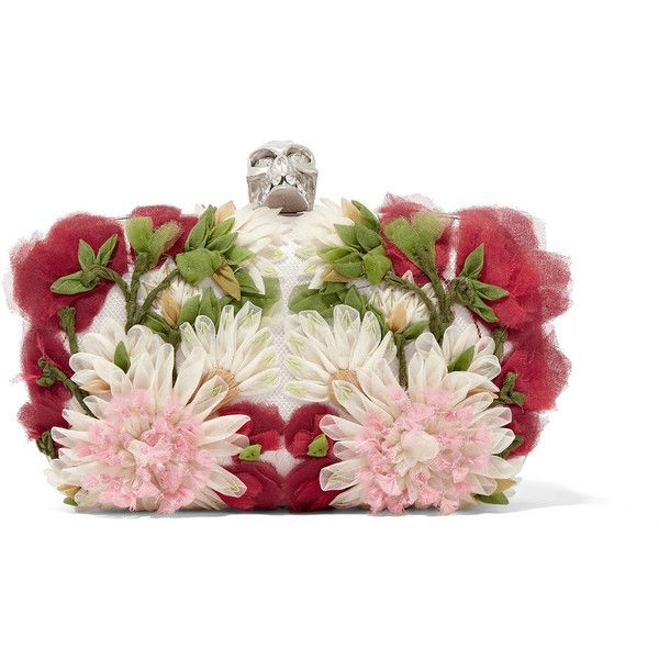 Alexander McQueen Skull floral-appliquéd tulle and satin box clutch found on Polyvore featuring bags, handbags, clutches, alexander mcqueen, clutch bags, red, white, floral clutches, red box clutch and white handbags