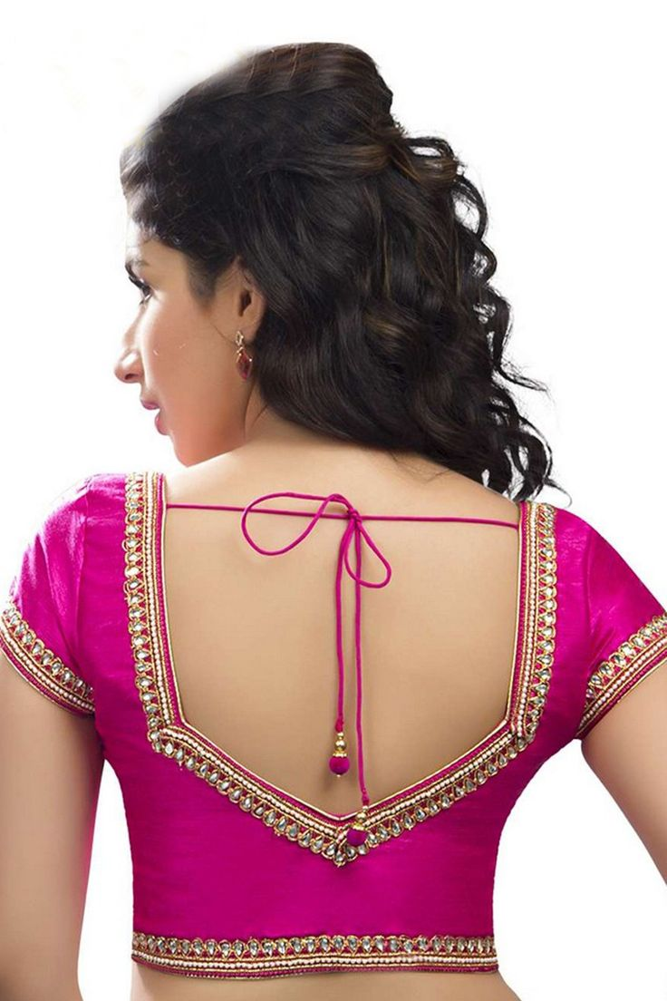 Dark #pink raw #silk #modish #blouse with sweetheart neck -BL617
